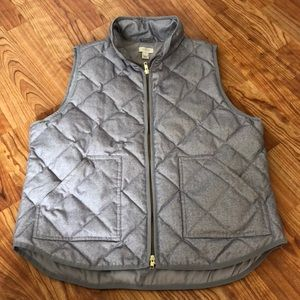J. Crew Gray Quilted Puffer Vest